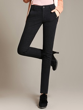 Solid Color High Waist Slim Pants