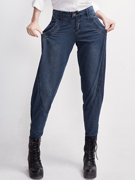 Harem Button Patchwork Denim Jeans