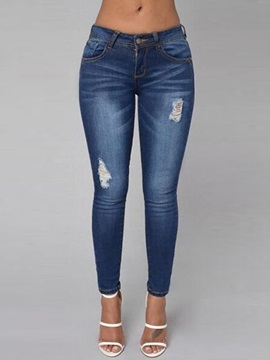 Low Waisted Denim Blue Women's Jeans (Plus Size Available)