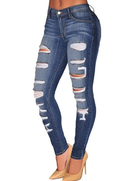 Ripped Worn-Out Patchwork Denim Jeans