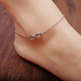 Silver Geometric Pattern Alloy Anklet
