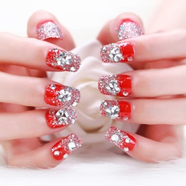 Most Beautiful Gorgeous Bright Red Bride Manicure