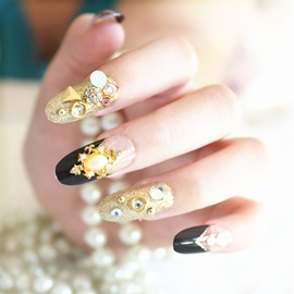 Black Gold Pearl False Nails Patch