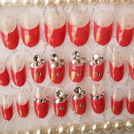 Cute Red False Nail Patch Rhinestone Decoration