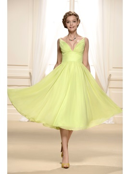 Consice V-Neck Straps Ruffles Tea-Length A-Line Empire Bridesmaid/Homecoming Dress