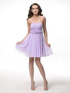 Sweetheart Pleated A-Line Short Floral Bridesmaid Dress