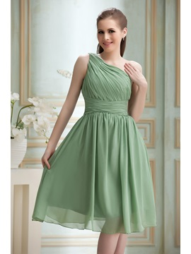 Fabulous Pleats A-Line One-Shoulder Knee-Length Nadya's Bridesmaid Dress