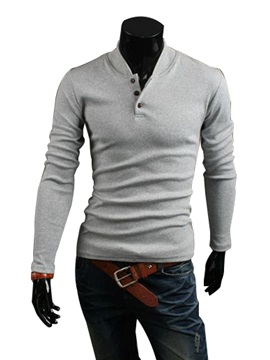 Solid Color Men Long Sleeve Hoodie