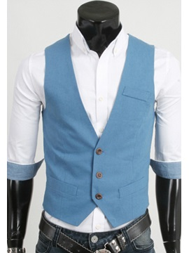 Solid Color Single-Breasted Vest