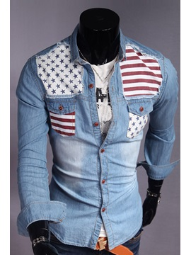 Lapel Striped Star-Decorated Shirt