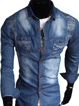 Lapel Long Sleeve Denim Shirt