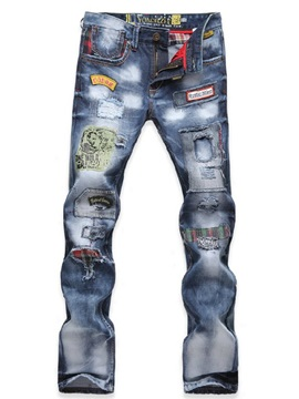 Mid Waist Floral-Embroid Denim Pants