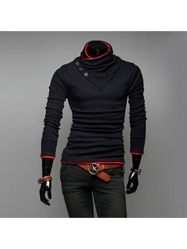 Stand Collar Button-Decorated Long Sleeve Hoodie