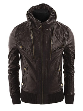 Stand Collar Zip-Front Long Sleeve PU Jacket