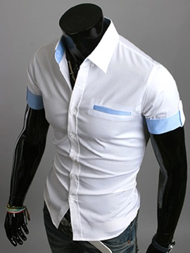 Lapel Single-Breasted Half-Sleeve Shirt