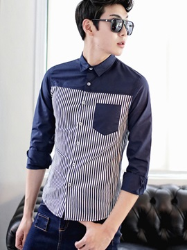 Lapel Striped Long Sleeve Shirt