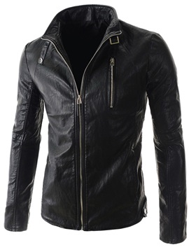 Stand Collar Long Sleeve Zipper PU Jacket