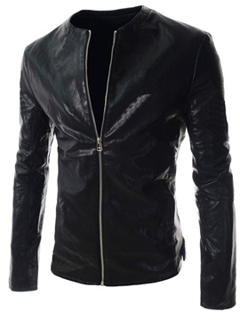 Slim Round Neck Zipper PU Jacket