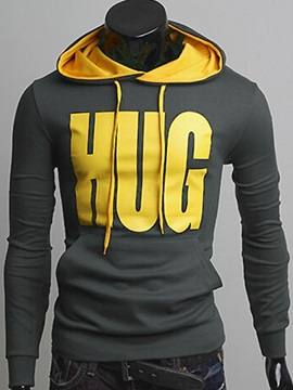 Men's Letter Printed Kangaroo Pocket Stripe Hoodies