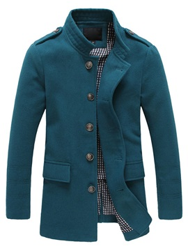 Men's Long Stand Collar Single Breasted Wool Coats