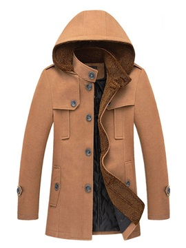 Men's Solid Color Vogue Hooded Buttons Coats