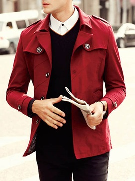 Men's Solid Color Single Breasted Notched Collar Coats