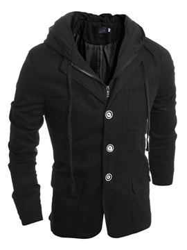 Plain Hidden Zip Three Buttons Lace-Up Men's Jackets with Hat