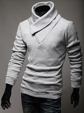 Screw Thread Diagonal Collar Solid Color Men's Pullover Sweater