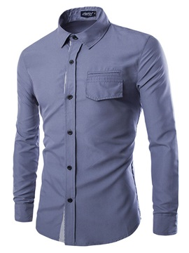 Solid Color Part Stripe Lapel Men's Cotton Shirt