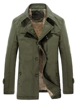 Men's Solid Color Lapel Artificial Wool Lined Trenchcoat