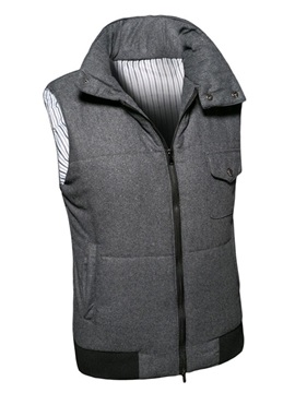 Leisure Lapel Solid Color Zipper Men's Vest with Velvet