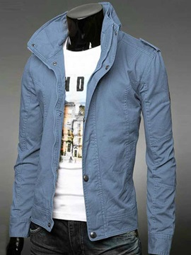 Zipper Up High Collar Solid Color Men's Jacket
