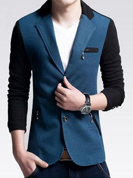 Color Block Notched Collar Single-Breasted Men's Blazer