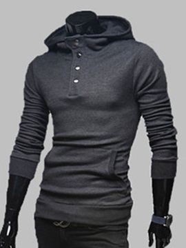 Solid Color Buttons Decorated Men's Pullover Hoodie