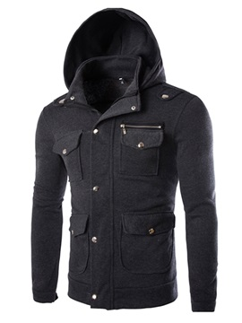 Four Pockets Hidden Zipper Men's Hoodie with Hat