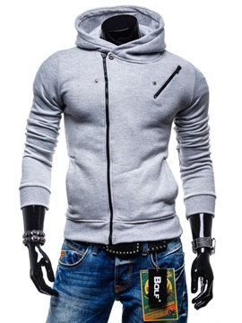 Contrast Side Zipper Decorated Men's Hoodie with Hat