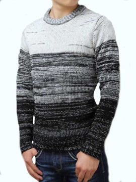 Three Colors Block Round Collar Men's Pullover Sweater