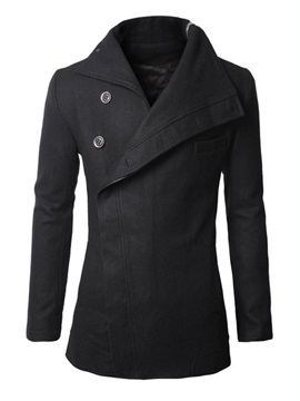 Irregular Oblique Hidden Buttons Men's Plain Coat