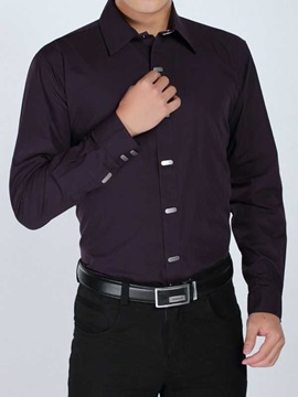 Solid Color Lapel Snap-Fastener Men's Casual Shirt