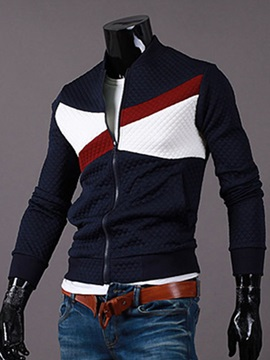 Color Block Zipper Up Men's Cardigan Hoodie
