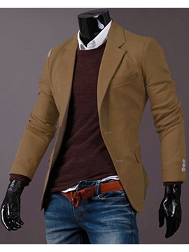Solid Color Notched Collar Single-Breasted Men's Blazer