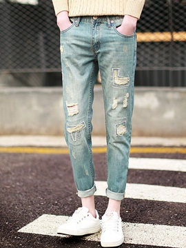 Distressed Hole Ankle Length Men's Denim Pants