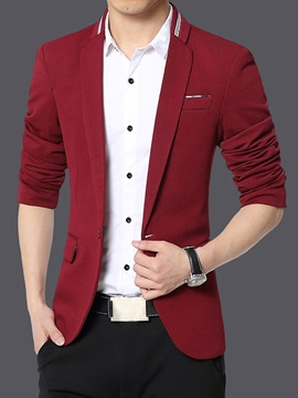 Slim Fit Notched Collar One Button Men's Blazer