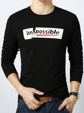 Letter Printed Slim Fit Men's Crew Neck Tee