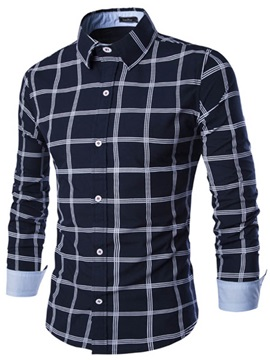 Middle Plaid Single-Breasted Lapel Men's Casual Shirt