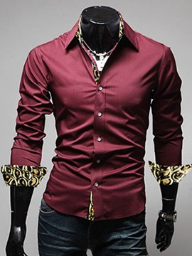 Snakeskin Patched Lapel Men's Casual Shirt