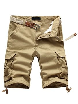 Plus Pockets Solid Color Men's Casual Knee Length Shorts