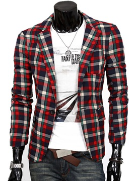 Multi-Color Plaid One Button Men's Blazer