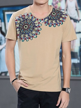 Floral Printed V-Neck Short Sleeve Men's Tee