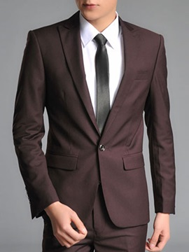 Solid Color Cotton Blend Men's Business Suit